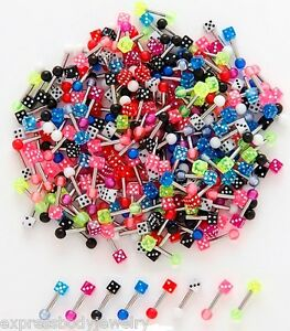 """16g 1/4"""" Acrylic Barbell Tragus Cartilage Labret Ear 3.2 MM Dice 1 or 2 PCS RW"""