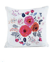 Collection Phoebe Striped Floral Large 43 x 43cm Cushion Scatter Square Flowers