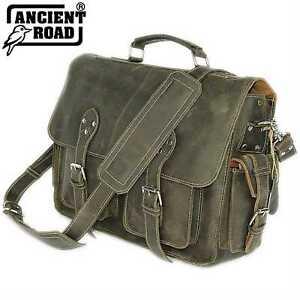 Mens Genuine Leather Crazy Horse Leather Huge Mens Briefcase Laptop Bag YY238-AU