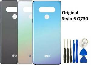 LG Stylo 6 Q730 Glass Battery Back Cover Door Panel Replacement White/ Grey