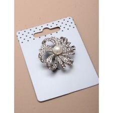 NUOVO 3.5cm cristallo d'argento con spilla di perle FASHION Jewellery Matrimonio Wear Sciarpa