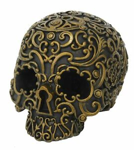 Pacific Giftware Black and Gold Skull Head Resin Figurine Statues