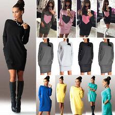 Damen Langarm Minikleid Bodycon Pullover Sweatshirt Tunika Freizeitkleid Gr32-42