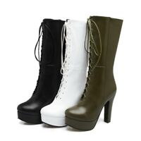 Women Block High Heel Round Toe Mid-Calf Boot New Casual Lace Up Platform Riding