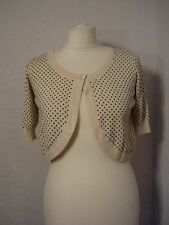 M&S ivory & black polka dot/spotted bolero cardigan/shrug 10