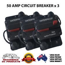 3x 50A AMP Circuit Breaker Dual Battery Manual Reset IP67 W/proof 12V 24 V