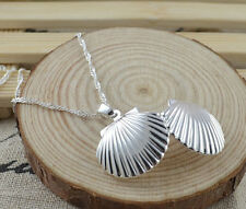 925 Silver Filled Sea Shell Locket Charm Necklace Photo Locket Water Wave Chain