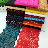 1 yards Flower Stretch Lace Trim Ribbon Elastic Fabric Sewing Crafts dress FL248