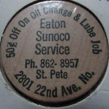 Vintage Eaton Sunoco Service St. Petersburg, FL Wooden Nickel Token - Florida