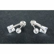 Equilibrium Platinum Plated & Cubic Zirconia Crystal Cube Earrings- 59492