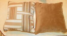 Pair of Brown Tan Cream Abstract Print Throw Pillows  10 x 10