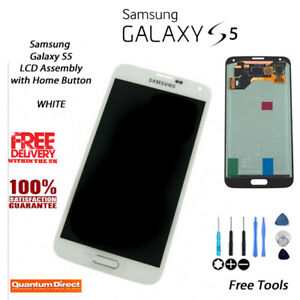 NEW Samsung Galaxy S5 (SM-G900F) LCD & Digitiser Assembly with Home Button WHITE