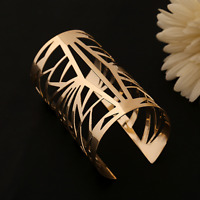 Women's Gold Geometric Hollow Punk Cuff Open Bangle Wide Charm Bracelet Jewelry