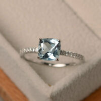 Cushion 1.55 Ct Natural Diamond Real Aquamarine Ring 14K White Gold Size 5 6 7 8