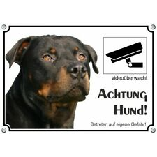 Rottweiler - Hundeschild aus Metall - Warnschild mit Videoüberwachung