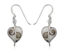 Arete Shiva Eye concha shivas ojo corazón dos piezas de Sterling plata 925