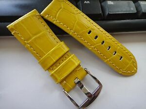 Genuine Leather Band Strap bracelet (FITS) PANERAI 26mm 24mm 22mm matte YELLOW