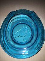 GOOD LUCK HORSE SHOE & HORSE IMAGE, 3-D Blue Color Glass Ashtray, Vintage