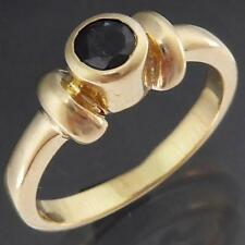Round Bezel Set Solid 9k Yellow GOLD BLUE SAPPHIRE SOLITAIRE RING Small Sz I
