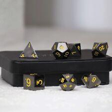 Easy Roller - 16mm Gun Metal RPG Polyhedral Dice (Set of 7) - Yellow Numbering