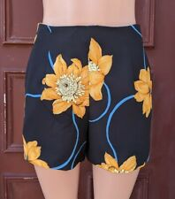 Anthropologie Black Floral Play Shorts by Shilla Made In Australia Size M EUC
