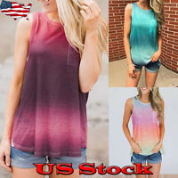 Womens Gradient T-Shirt Tops Summer Sleeveless Casual Loose Blouse Tee Shirts
