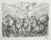 """Alfred Kubin (1877-1959) Original Lithographie """"Mit Fünfen"""" Zirkusreiterin, 1944"""