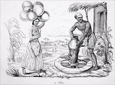 INDIA -  A POTTER and his WALKING WHEEL - Engraving from 19th century