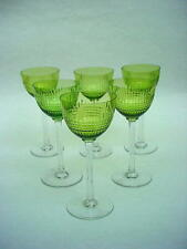 Hard to Find  French Baccarat Nancy  Set of 6 GREEN Rhine Wine Goblets