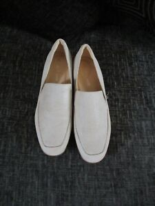 Womens Ladies Clarks  Pure Sense White Leather Loafers Shoes Size UK 6D