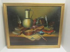 """ANTIQUE PAINTING """"STILL LIFE WITH VIOLIN."""", signed HABADY"""