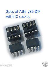 2pcs Atmel Attiny85-20PU Attiny85 attiny DIP8 with IC sockets (support arduino)