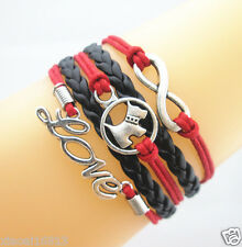 Multi-layer Lovely Infinity/Love/Dog Charms Leather Braided Bracelet Red/Black