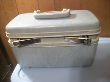 Vintage Samsonite Blue Train Case Makeup Carry On with Mirror No Key