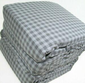 Cuddl Duds Heavyweight Cotton Flannel Gray Gingham Plaid King Sheet Set New