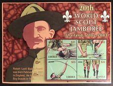 LIBERIA 20TH WORLD SCOUT JAMBOREE STAMPS SHEET 2002 MNH BOY SCOUTS POWELL HIKING