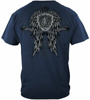 Law Enforcement Police Skull Wings Full T-Shirt 100% Cotton NAVY