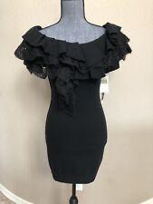 Designer Bird Juicy Couture Black Sweater Dress Size P XS $500 Ruffles Cashemere