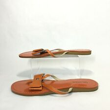 Michael Kors Toe Post Sandals Womens 7.5 Casual Flats Bow Ribbon Leather Orange