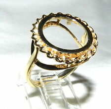 14k Gold Twisted Rope 14mm Panda Coin Ring Semi Mount Mounting Sz 7
