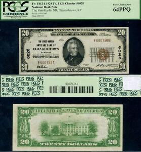 Elizabethtown KY $20 1929 National Bank Note Ch#6028 F Hardin NB CH PCGS CU64PPQ