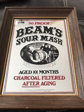 Vintage Jim Beam 90 Proof Sour Mash Mirror Bar Decor Whiskey Bourbon Sign