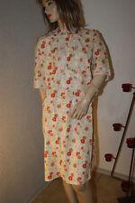 Damen Vintage DDR Negligee Nachtkleid Kuschel weiß, rot- braun-grün geblümt L/XL