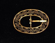 ANTIQUE ART DECO ORNATE  CZECH BRASS SMALL  BELT BUCKLE