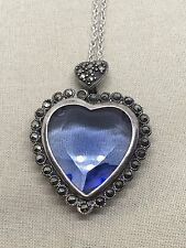 "20"" Sterling Silver Necklace With Marcasite Blue Stone 21-7"