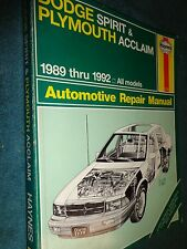 1989-1992 DODGE SPIRIT PLYMOUTH ACCLAIM SHOP MANUAL / HAYNE'S SERVICE BOOK 90 91
