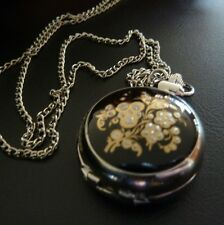 Vintage Style Antique Silver Black & Gold Enamel Inlay Pocket Fob Watch Necklace