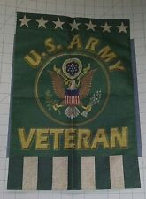 """United States Us Army Veteran Garden Flag 11"""" x 17"""" Burlap Fabric Double Sided"""