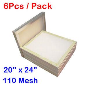 "6pcs* 20x24"" Aluminum Frames Silk Screen Printing 110 White Mesh Pre-stretched"