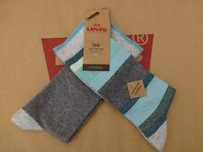 LEVI'S Luxury Sock Stripe & Plain Grey Green UK 9-11 Rich Cotton 2/pk Socks BNIP
